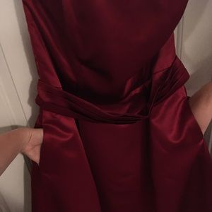 After Six Dresses - Burgundy strapless cocktail ball gown bridesmaid